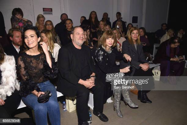 Mandy Moore, Harvey Weinstein, Anna Wintour and Virginia Smith attend the Marchesa fashion show during February 2017 New York Fashion Week at Gallery...