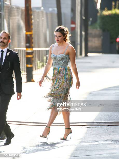 Mandy Moore is seen arriving at 'Jimmy Kimmel Live' on July 24 2018 in Los Angeles California