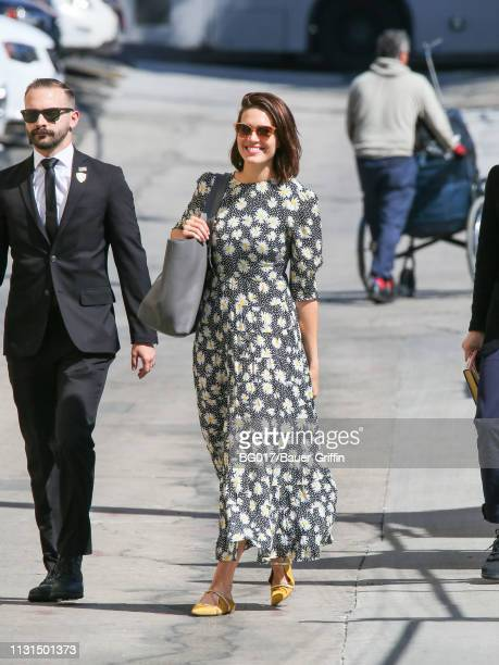 Mandy Moore is seen arriving at 'Jimmy Kimmel Live' on March 18 2019 in Los Angeles California