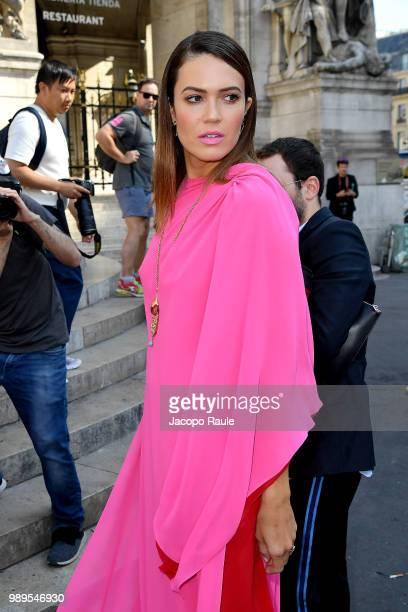 Mandy Moore is seen at the Schiaparelli Haute Couture Fall Winter 2018/2019 Show on July 2 2018 in Paris France