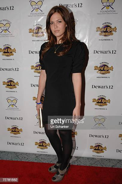 Mandy Moore poses on the red carpet at the Andy Roddick poker tournament held at the Seminole Hard Rock Hotel Casino December 8 2006 in Hollywood...