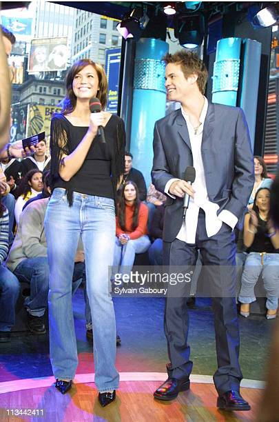 Mandy Moore Shane West during Mandy Moore and Shane West Promote A Walk to Remember at MTV's TRL in New York New York United States