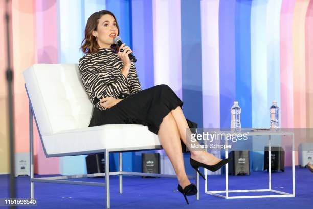 Mandy Moore speaks onstage during the Power Your Evolution with Mandy Moore panel during the POPSUGAR Play/ground at Pier 94 on June 22 2019 in New...