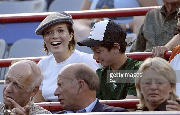 Mandy Moore watches her boyfriend Andy Roddick of the USA take on Sebastien Grosjean of France during Tennis Masters Canada on August 7 2003 at...