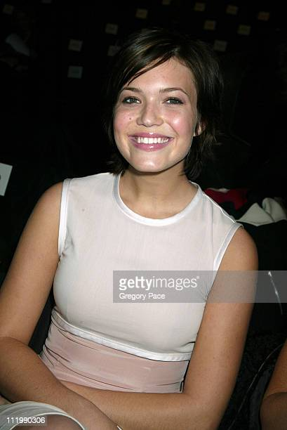 Mandy Moore wearing Narciso Rodriguez during Narciso Rodriguez Fall 2003 Fashion Show at Bryant Park Tents in New York NY United States