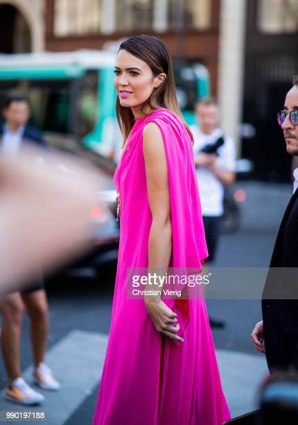 Mandy Moore wearing pink dress is seen outside Schiaparelli on day two during Paris Fashion Week Haute Couture FW18 on July 2 2018 in Paris France