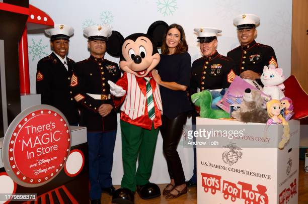 Mandy Moore with US Marines and Holiday Mickey kick off shopDisneycom| Disney store's Holiday campaign at Glendale Galleria Disney store Starting...