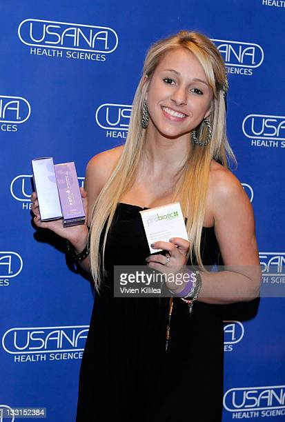 Mandy Rain of School Gyrls poses with USANA during Kari Feinstein MTV Movie Awards Style Lounge at W Hollywood on June 2 2011 in Hollywood California