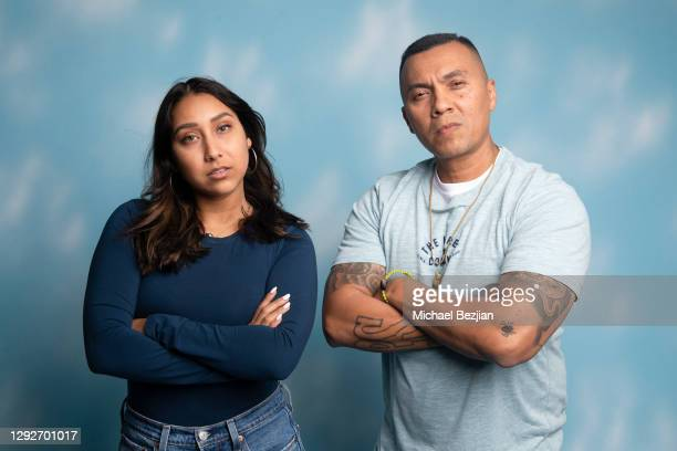 Mandy Ramirez and Conejo pose for portrait at Conejo and Friends Visit TAP Studios on December 21, 2020 in Los Angeles, California.