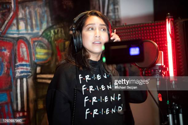 Mandy Ramirez records music at Conejo and Friends Visit TAP Studios on December 21, 2020 in Los Angeles, California.