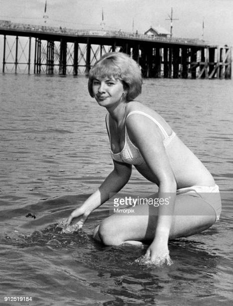 Mandy RiceDavies who is in South Wales in the Cabaret pictured in the sea at Penarth Vale of Glamorgan Wales Circa 1965