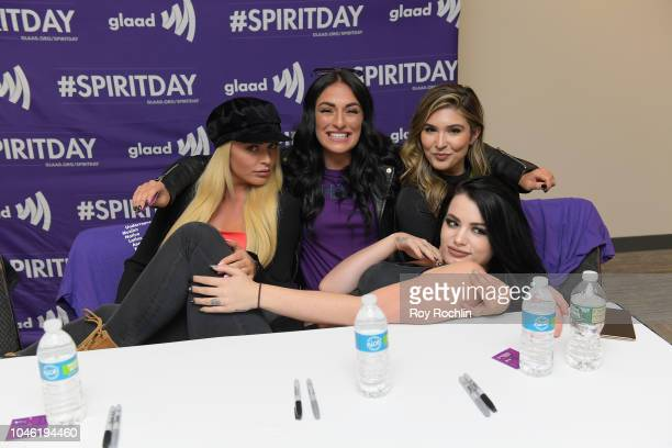 Mandy Rose Sonya DeVille Cathy Kelley and Paige attend Meet WWE Superstars during 2018 New York Comic Con at The Queer Lounge at Javits Center on...