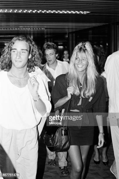 Mandy Smith at Gatwick Airport with her family and boyfriend Keith Daley 14th August 1986