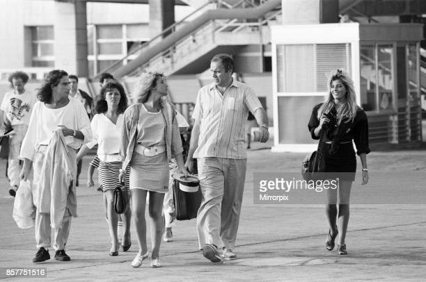 Mandy Smith at Gatwick Airport with her family including mother Patsy Smith sister Nicola Smith and boyfriend Keith Daley 14th August 1986