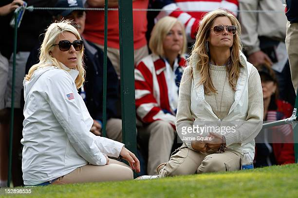 Mandy Snedeker and Tabitha Furyk watching the action during the Morning Foursome Matches for The 39th Ryder Cup at Medinah Country Club on September...