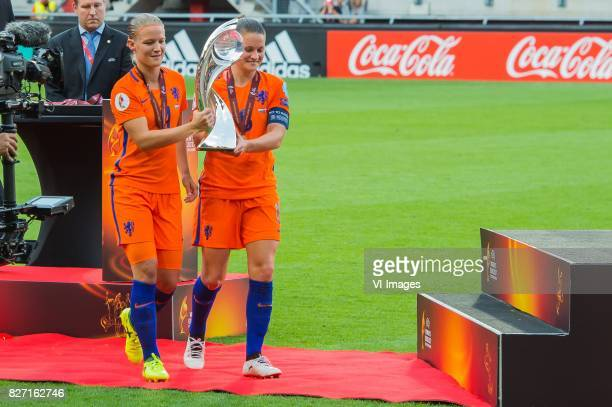Mandy van den Berg of Holland Women Sherida Spitse of Holland Women during the UEFA WEURO 2017 final match between The Netherlands and Denmark at the...