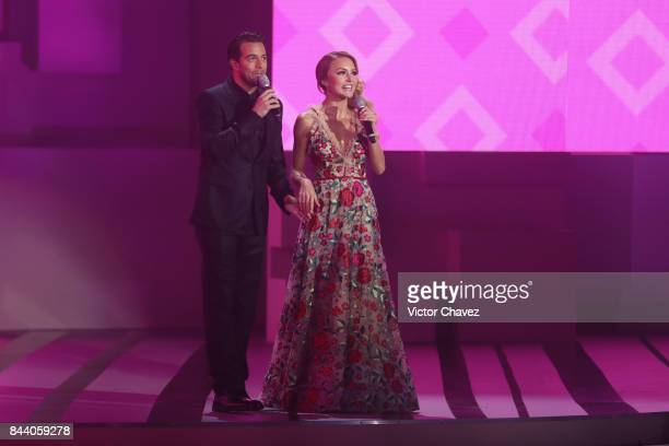 Mane de la Parra and Angelique Boyer speak on the runway during the Liverpool Fashion Fest Autumn/Winter at Fronton Mexico on September 7 2017 in...