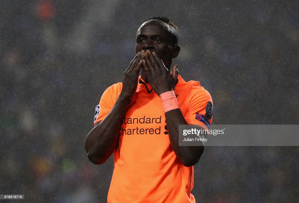 Mane of Liverpool celebrates his second goal during the UEFA Champions League Round of 16 First Leg match between FC Porto and Liverpool at Estadio do Dragao on February 14, 2018 in Porto, Portugal.
