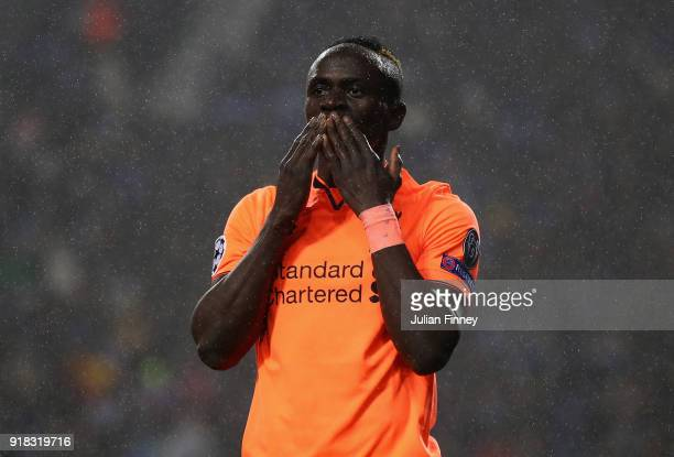 Mane of Liverpool celebrates his second goal during the UEFA Champions League Round of 16 First Leg match between FC Porto and Liverpool at Estadio...