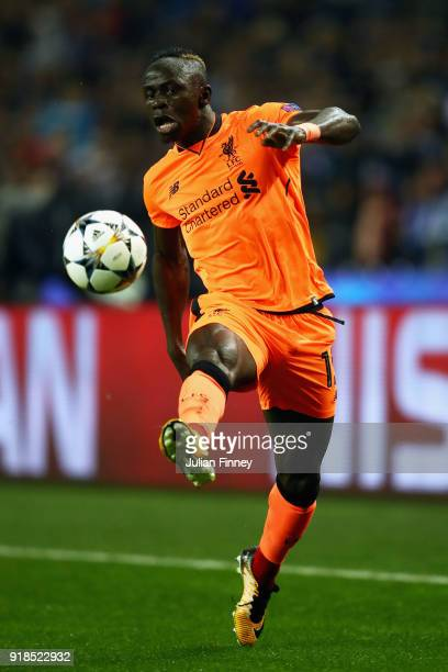 Mane of Liverpool controls the ball during the UEFA Champions League Round of 16 First Leg match between FC Porto and Liverpool at Estadio do Dragao...