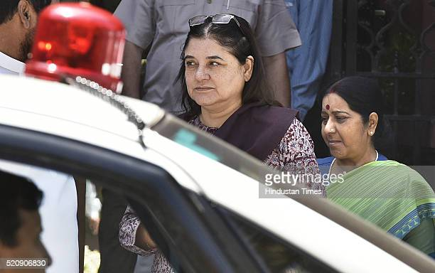 Maneka Gandhialong with Sushma SwarajUnion Minister of External Affairs coming out after attending the Cabinet Meeting at PM Office South Block on...