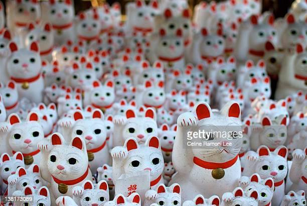 maneki neko cats - maneki neko stock photos and pictures