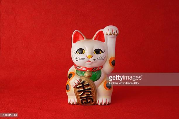 'maneki neko' doll  - maneki neko stock photos and pictures