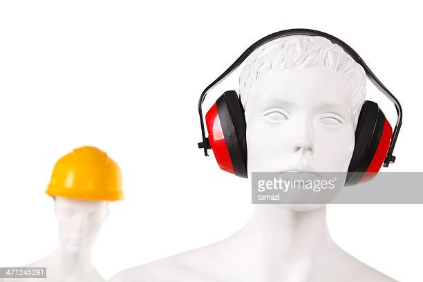 manequin with ear and head protection - ear protection stock pictures, royalty-free photos & images