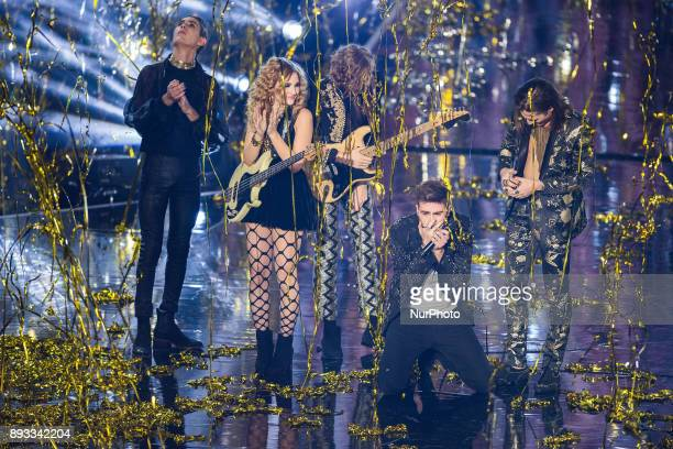 Maneskin and Lorenzo Licitra during italian final X Factor 11 on December 14 2017 at Mediolanum Forum in Assago Milan Italy Lorenzo Licitra is the...
