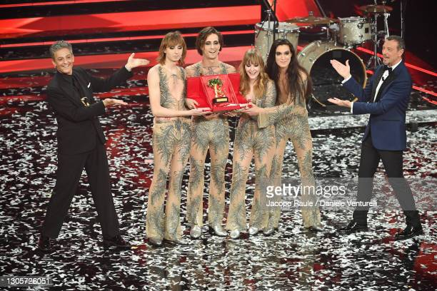 Maneskin band celebrates after being awarded with the top prize at the 71th Sanremo Music Festival 2021 at Teatro Ariston on March 06, 2021 in...