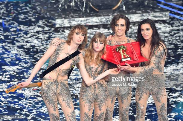 Maneskin band celebrates on stage during the 71th Sanremo Music Festival 2021 at Teatro Ariston on March 06, 2021 in Sanremo, Italy.
