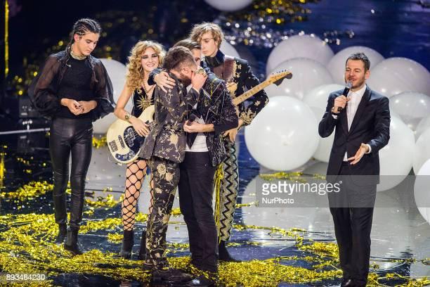 Maneskin Lorenzo Licitra Alessandro Cattelan attend X Factor 11 finale on December 14 2017 in Milan Italy