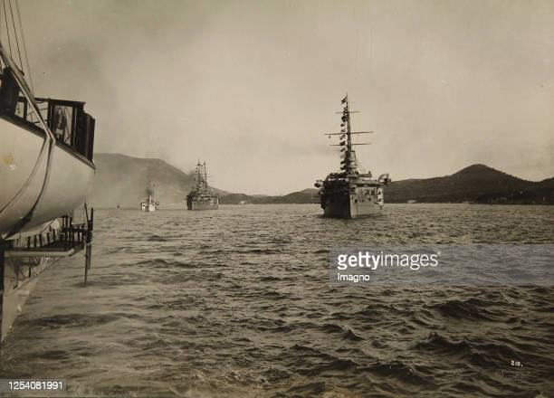 Maneuver of the Austro-Hungarian Navy at the Austro-Hungarian main naval base in Pola . About 1905. Photograph by Ruda Bruner-Dvorak / Prague.
