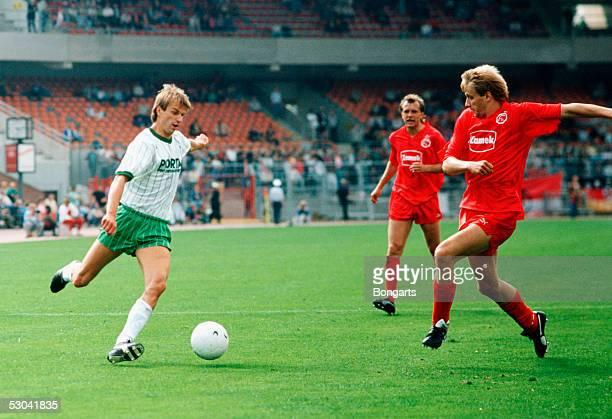 Manfred Bockenfeld of Werder Bremen plays the ball during the 1Bundesliga game between Werder Bremen and Fortuna Duesseldorf at the Weserstadion on...