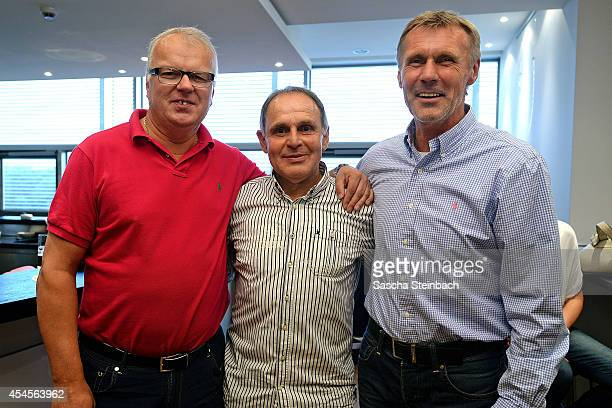Manfred Bockenfeld Wolfgang Seel and Rudolf Rudi Bommer pose during the 'Club Of Former National Players' meeting prior to the international friendly...