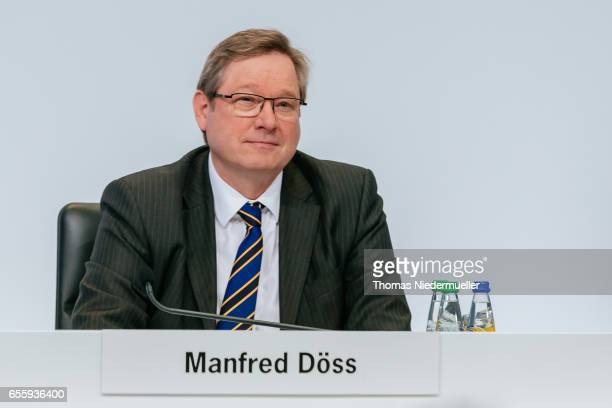 Manfred Doess member of the board legal affairs and compliance of German company Porsche SE attends the company's annual press conference at Porsche...