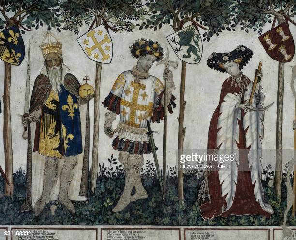 Manfred III depicted as Charlemagne , Manfred l as Godfrey of Bouillon and his wife Eleanor of Alborea depicted as Delfie , detail from the Heroes...