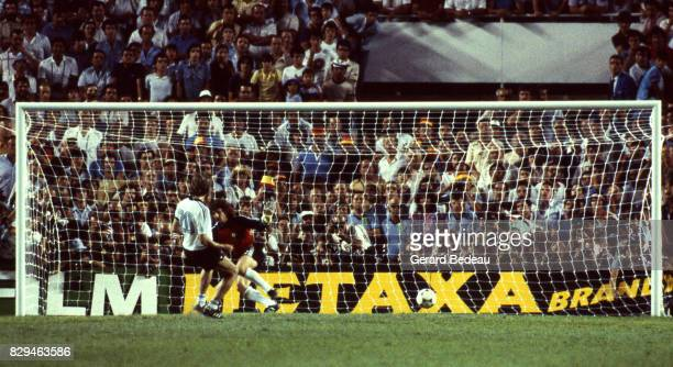 Manfred Kaltz of Germany score a penalty Jean Luc Ettori of France during of the game Semi Final World Cup match between West Germany and France 8th...