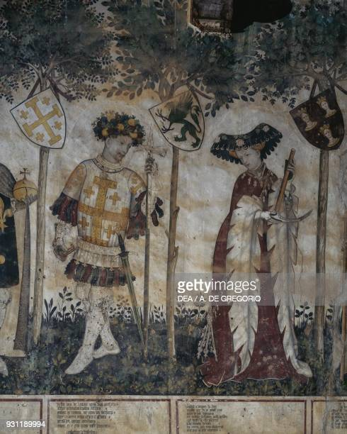Manfred l depicted as Godfrey of Bouillon and his wife Eleanor of Alborea depicted as Deifile detail from the Heroes and Heroines cycle fresco in the...