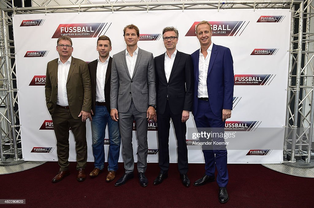 Manfred Loppe, Marco Hagemann, Jens Lehmann, Frank Hoffmann and Florian Koenig attend the offical Television programm-preview of german television production RTL on July 17, 2014 in Hamburg, Germany.