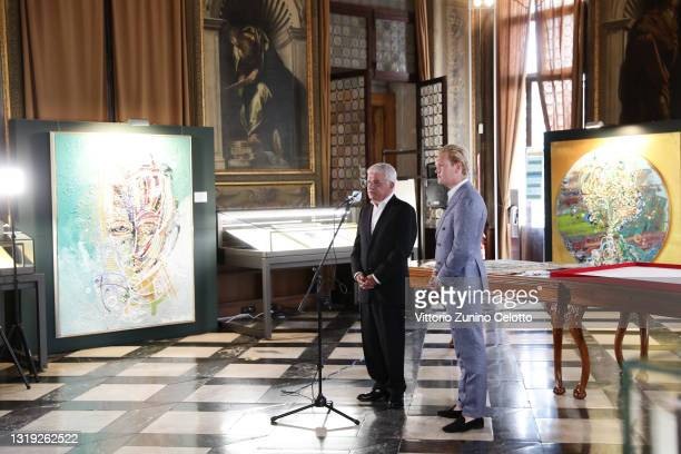 """Manfred Möller and Leon Löwentraut attend the exhibition opening """"Leonismo"""" by artist Leon Loewentraut on May 21, 2021 in Venice, Italy. In the..."""
