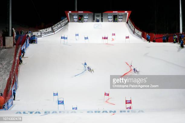 Manfred Moelgg of Italy Alexis Pinturault of France compete during the Audi FIS Alpine Ski World Cup Men's Parallel Giant Slalom on December 17 2018...