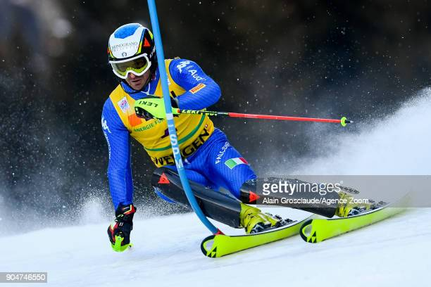 Manfred Moelgg of Italy competes during the Audi FIS Alpine Ski World Cup Men's Slalom on January 14 2018 in Wengen Switzerland
