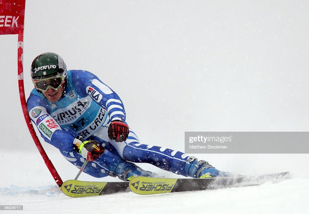Manfred Moelgg #17 of Italy competes in the first run of the FIS Alpine Skiing World Cup giant slalom race on December 3, 2005 on Birds of Prey at Beaver Creek in Avon, Colorado.