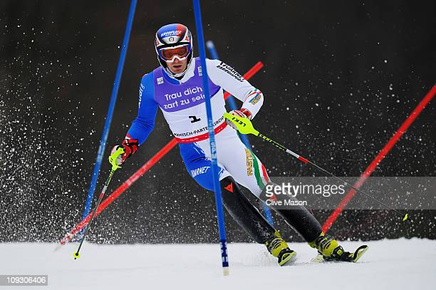 Manfred Moelgg of Italy skis on his way to finishing third in the Men's Slalom during the Alpine FIS Ski World Championships on the Gudiberg course...
