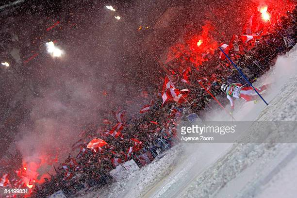 Manfred Pranger of Austria takes second place during the Alpine FIS Ski World Cup Men's Night Slalom on January 27, 2009 in Schladming, Austria.