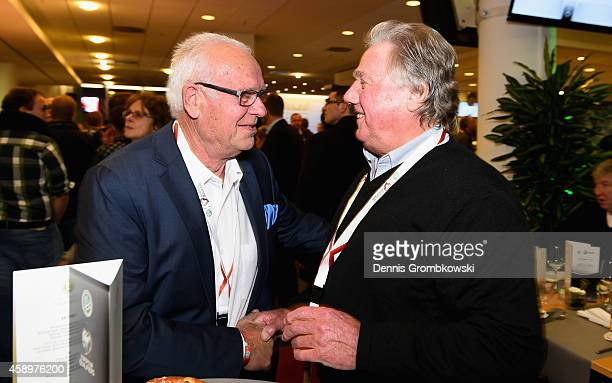 Manfred Ritschel and Franz Brungs joke during the Club of former national players meeting at GrundigStadion on November 14 2014 in Nuremberg Germany