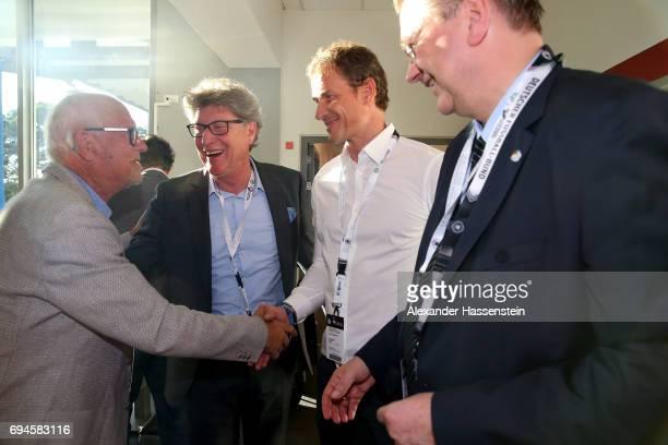 Manfred Ritschel Toni Schumacher Jens Lehmann DFB President Reinhard Grindel talk prior to the FIFA 2018 World Cup Qualifier between Germany and San...