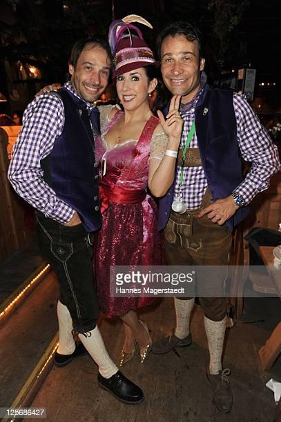 Manfred Stecher Judith Williams and AlexanderKlaus Stecher attend the 'Goldstar TV Wiesn' as part of the Oktoberfest beer festival at Weinzelt beer...