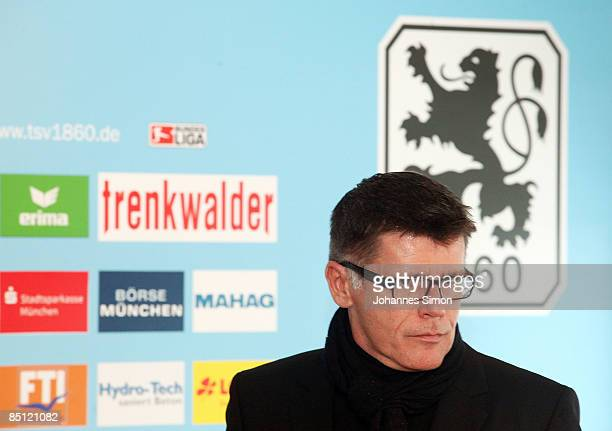 Manfred Stoffers CEO of 1860 Muenchen addresses the media during a press conference at their training ground Gruenwalder Strasse on February 24 2009...
